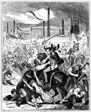 Le massacre de Peterloo a Manchester, Angleterre, le 16 aout 1819