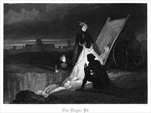 Consigning bodies of the plague to a communal grave in the plague pit