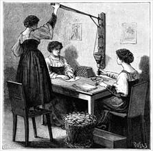 Women packing dynamite cartridges, 1888