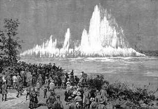 Blowing up Flood Rock, part of the Hell Gate Rocks complex