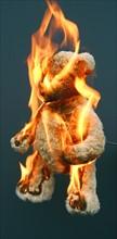 L'ours en peluche d'une enfant, en feu