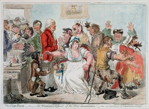 Gilray cartoon on vaccination against Smallpox using Cowpox serum, 1802