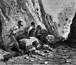 Miners using dynamite for blasting