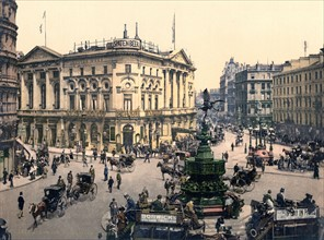 Piccadilly Circus, London, England between 1890 and 1900.
