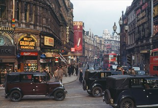 Colour photograph of Shaftesbury Avenue from Piccadilly Circus, London