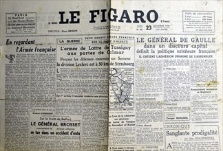 Le Figaro headlines describing the advance of general Leclerc on Strasbourg
