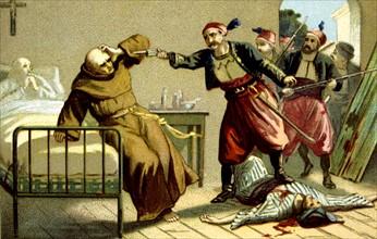 Massacre d'Arménie par les Turcs en 1894-1896. Mort du Révérend Père Franciscain Salvatore.