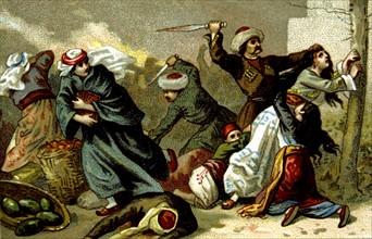 Massacre d'Arménie par les Turcs en 1894-1896. Arméniens égorgés à Ak-Hissar
