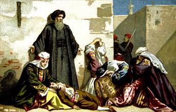 Massacre d'Arménie par les Turcs en 1894-1896. Prisonniers chrétiens à Aradkir