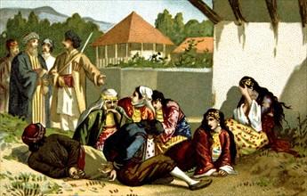 Massacre d'Arménie par les Turcs en 1894-1896. Arméniens vendus comme esclaves