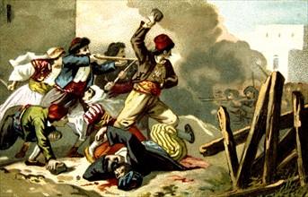 Massacre d'Arménie par les Turcs en 1894-1896. Les Arméniens défendant Gurun. Publicité pour le chocolat d'Aiguebelle