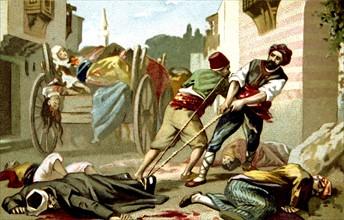 Massacre d'Arménie par les Turcs en 1894-1896. Enlèvement des victimes à Galata