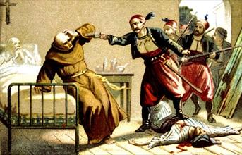 Massacre d'Arménie par les Turcs en 1894-1896. Mort du Révérend Père Franciscain Salvatore