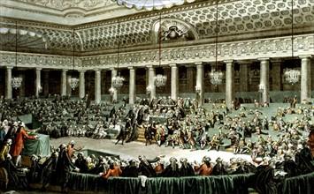 Gravé d'après un dessin de C. Monnet. Assemblée Nationale, à Versailles, séance de la nuit du 4 au 5 août 1789
