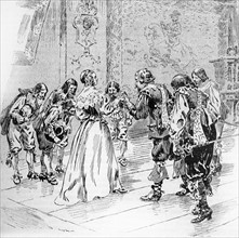 """Illustration de R. de la Nézière. """"Vingt ans après"""" (suite de """"Les trois mousquetaires"""")."""