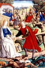 Représentation symbolique des démons propageant les épidémies