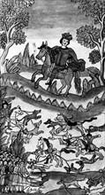 Règne de Pierre 1er de Russie, dit Pierre le Grand (1672-1725). Le roi Pierre 1er à la chasse