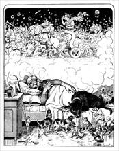 """Caricature dans """"Strekoza"""". Le songe de Bismarck."""