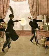 Mme Caillaux, tire à coups de révolver sur M. Gaston calmette, directeur du Figaro.