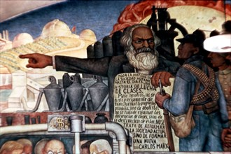 Rivera, Karl Marx s'adressant aux peuples latino-américains (détail)