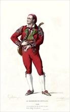 """Gravure de Lallemand, Beaumarchais, """"Le barbier de Séville"""", Figaro"""