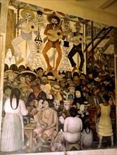Fresque de Diego Rivera : Le jour de la fête des morts