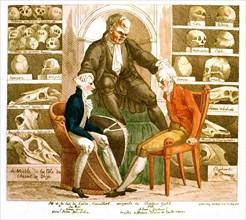 """Caricature anonyme, """"Le roi de Suède et M. Pitt consultant incognito le Dr Gall"""""""