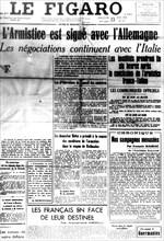 """Ière page du journal """"Le Figaro"""" annonçant l'armistice"""