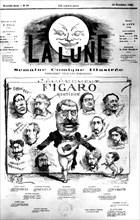 """Une du journal """"La Lune"""" annonçant la parution du 1er n° du """"Figaro quotidien', 1866"""