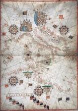 Carte nautique de l'Italie et de l'Afrique du Nord en 1571