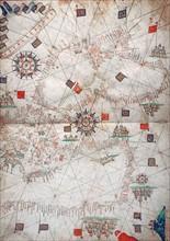 Carte nautique de la Mer Egée et des côtes d'Afrique du Nord en 1571