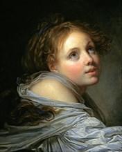Greuze, Innocence : jeune fille en buste, avec une chemise blanche, regardant vers la droite