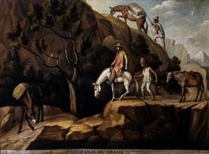 Le marchand Giuseppe Viti franchissant le saut de Sorgento pendant sa traversée des Andes avec son chargement d'albâtre