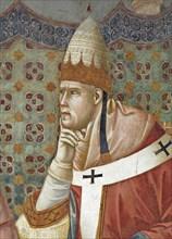 Giotto, La prédication de saint François devant le pape Honorius III (détail)