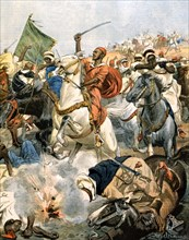 Guerre du Maroc. Les rebelles attaquent Casablanca tenue par l'artillerie française (1907)