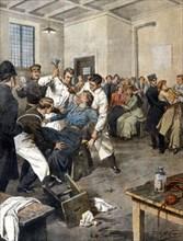 Des suffragettes britanniques ayant entamé une grève de la faim, sont alimentées de force en prison (1909)