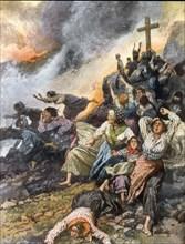 Eruption de l'Etna. Fuite précipitée de femmes prises par la lave alors qu'elles priaient (1911)