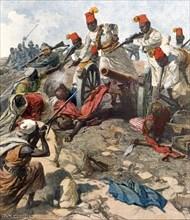 Guerre italo-turque. Épisode de la bataille de Zanzur, en Tripolitaine le 20 septembre, autour d'un canon de batterie que Luccidi a perdu et repris