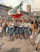 Défilé des athlètes italiens au stade de Stockholm pour les Jeux Olympiques d'été (1912)