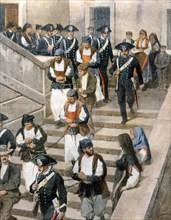 Banditisme en Sardaigne. La dernière bande capturée à Desulo, sort des Assises de Cagliari (1913)