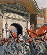 Enver bey se présente devant la Sublime Porte d'Istanbul pour ordonner la démission du gouvernement turc (1913)