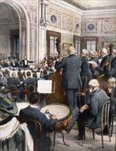 Concert donné par des musiciens retraités dans la maison de retraite Giuseppe Verdi de Milan (1913)