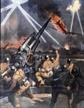A Munich, des ouvriers et employés italiens des industries de guerre ont demandé et obtenu de participer à la défense anti-aérienne de la ville, en gardant une batterie, lors d'un récent raid terroris...