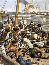 Des pirates attaquent un convoi maritime en Mer Rouge (1902)