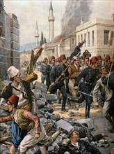 Les graves troubles à Thessalonique, les Bulgares semant la terreur en lançant des bombes à la dynamite (1903)