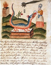 """Le prêtre rend le dragon docile grâce au distillat sacré, manuscrit alchimique """"Clavis Artis"""" attribué à Zoroastre (Zarathoustra)"""