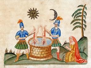 """Représentation allégorique de l'Opus Alchemicum. Massacre des innocents. Le soleil préside à l'union des amoureux, manuscrit alchimique """"Clavis Artis"""" attribué à Zoroastre (Zarathoustra)"""