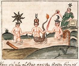 """L'avènement du mercure : la déesse Astarté célèbre l'union alchimique entre la Lune et le Soleil, manuscrit alchimique """"Clavis Artis"""" attribué à Zoroastre (Zarathoustra)"""