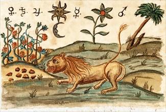 """Symbolisme alchimique, manuscrit alchimique """"Clavis Artis"""" attribué à Zoroastre (Zarathoustra)"""