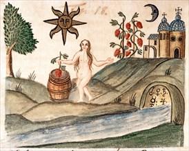 """Purification du péché originel, à travers le moût divin et l'eau astrale du ruisseau, manuscrit alchimique """"Clavis Artis"""" attribué à Zoroastre (Zarathoustra)"""